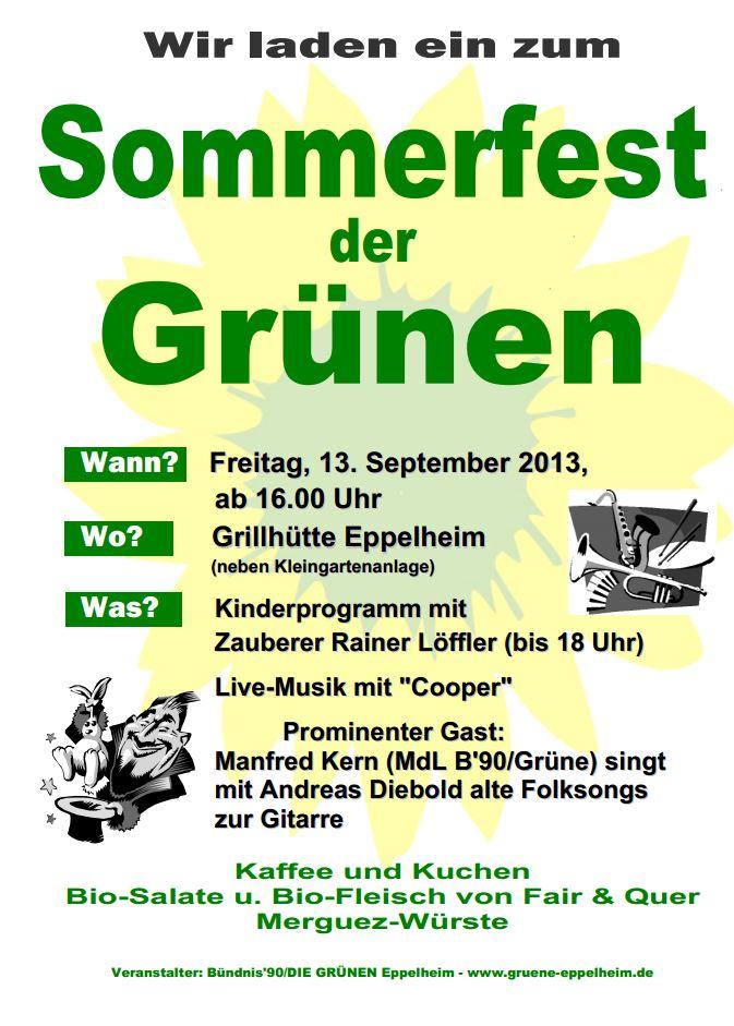Einladung Sommerfest der Grünen