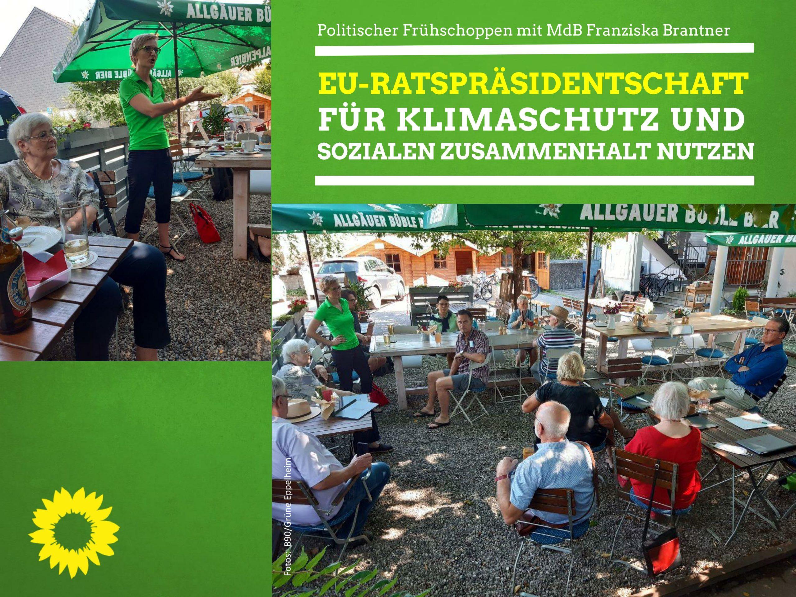 """""""EU-Ratspräsidentschaft für Klimaschutz und sozialen Zusammenhalt nutzen"""" -Bundestagsabgeordnete Franziska Brantner zu Gast bei den Eppelheimer Grünen"""