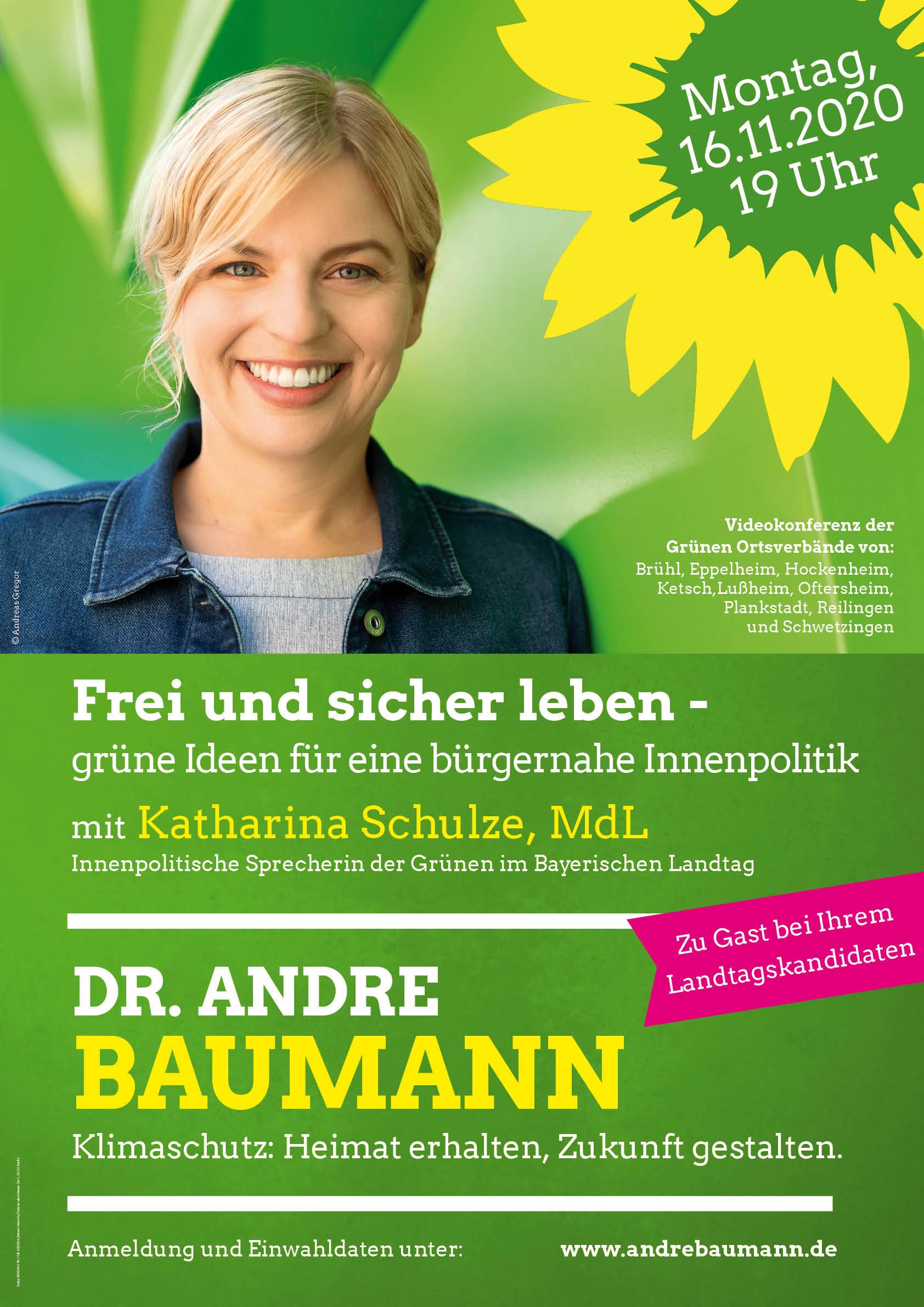 """Montag, 16.11.20 – Video-Konferenz mit Katharina Schulze MdL """"Frei und sicher leben – Grüne Ideen für eine bürgernahe Innenpolitik"""""""